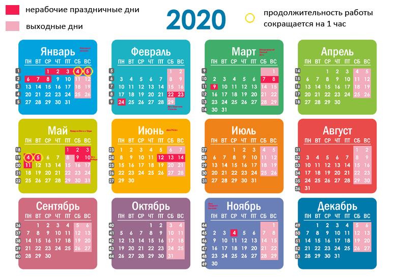 Календарь выходных и праздничных дней в 2020 году